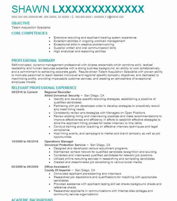 talent acquisition specialist sample resume professional talent - talent specialist sample resume