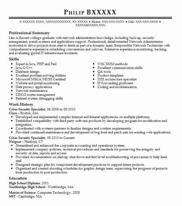 Cyber Security Specialist Resume Sample It Resumes LiveCareer