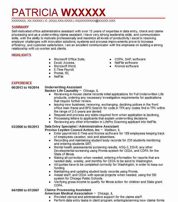 Underwriting Assistant Resume Sample Accountant Resumes LiveCareer - Underwriting Assistant Sample Resume