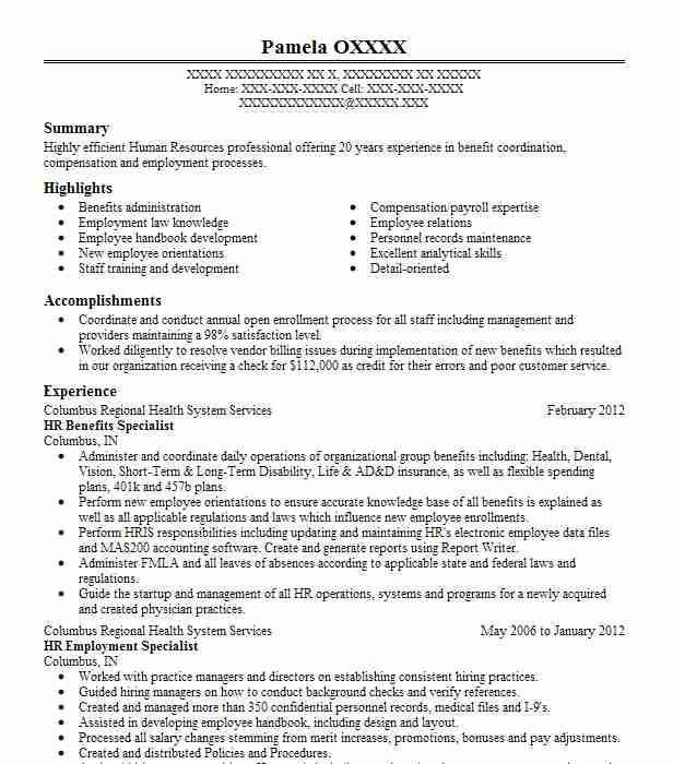 Hr Benefits Specialist Resume Sample Specialist Resumes LiveCareer