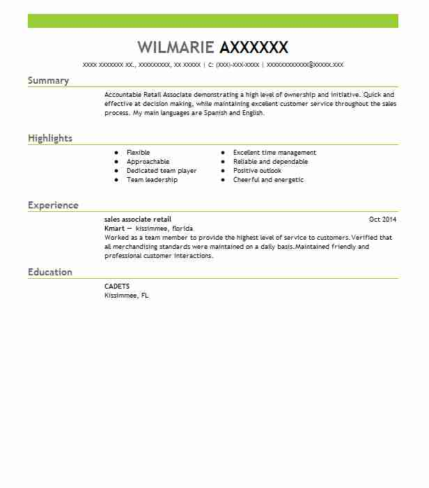 Sales Associate Retail Resume Sample Retail Resumes LiveCareer - resume sample for retail sales associate