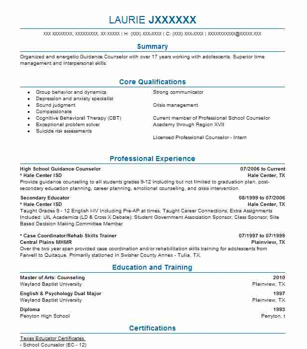 High School Guidance Counselor Resume Sample LiveCareer