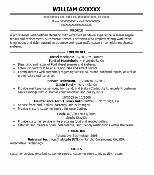 Diesel Mechanic Resume Sample Mechanic Resumes LiveCareer