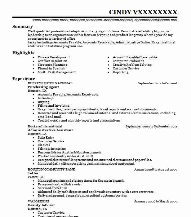 Purchasing Agent Resume Sample Agent Resumes LiveCareer