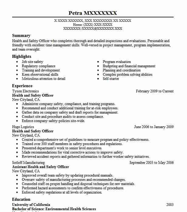 Health And Safety Officer Resume Sample Resumes Misc LiveCareer - safety officer resume sample