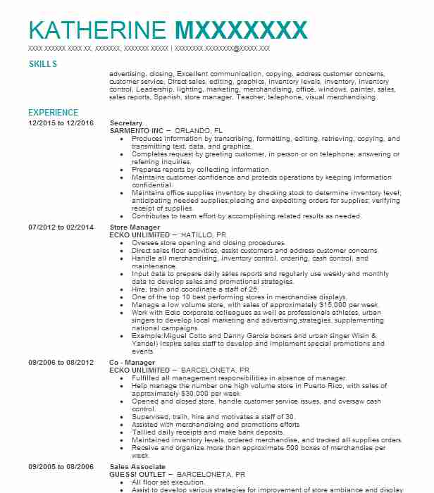Best Secretary Resume Example LiveCareer - resume examples secretary