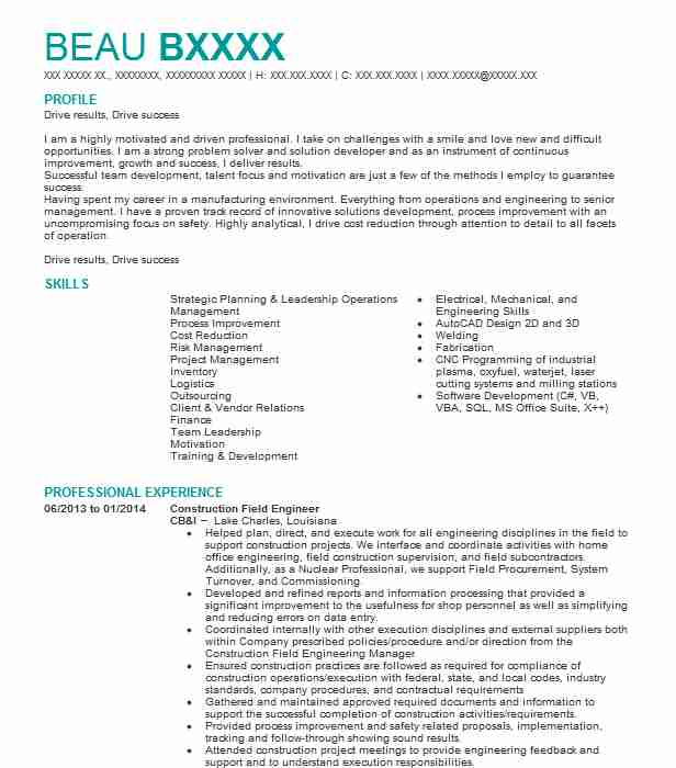 resume building construction engineer