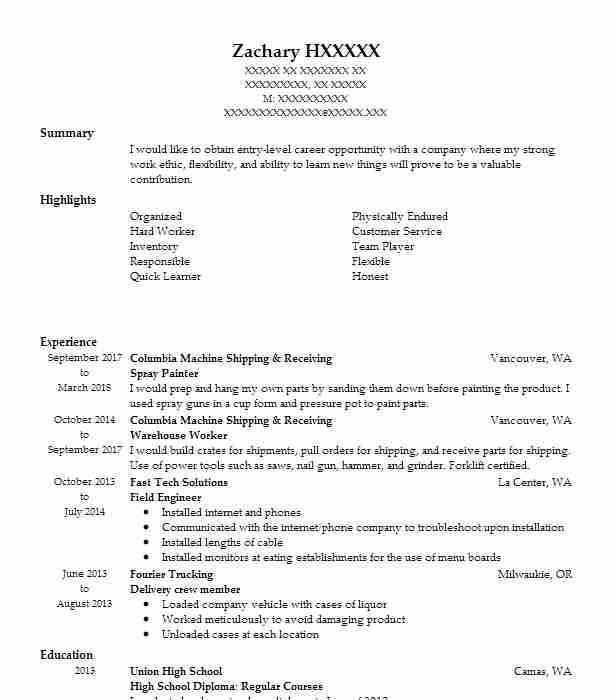 Spray Painter Resume Sample Painter Resumes LiveCareer