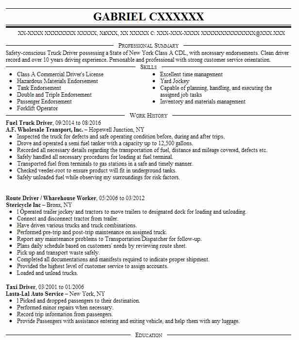 Fuel Truck Driver Resume Sample Driver Resumes LiveCareer