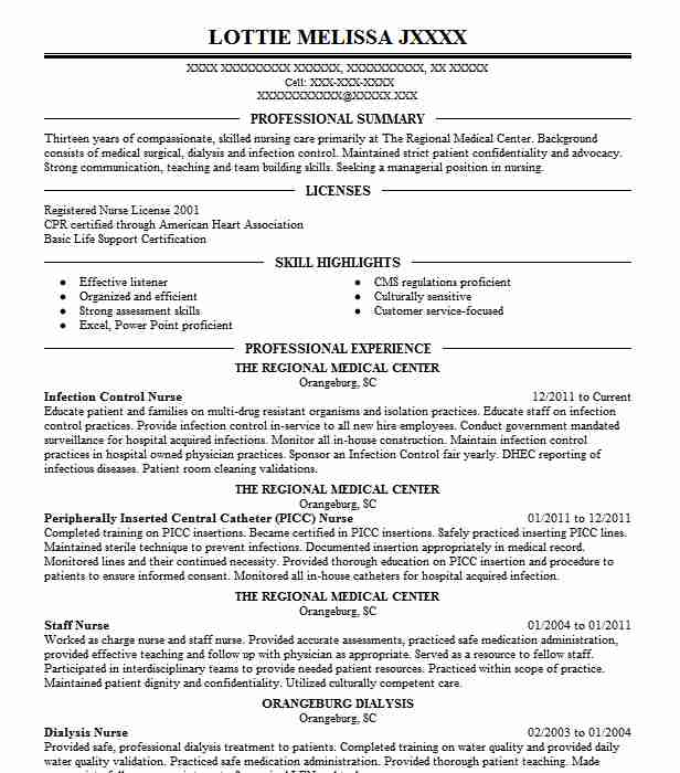 Infection Control Nurse Resume Sample Nursing Resumes LiveCareer - infection control nurse sample resume