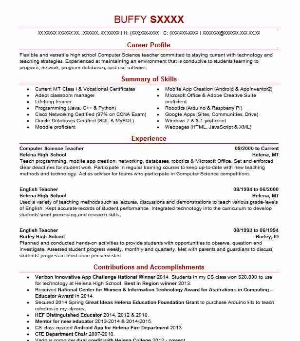 Computer Science Teacher Resume Sample Teacher Resumes LiveCareer
