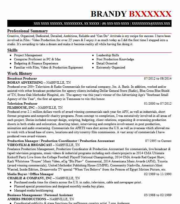 Broadcast Producer Resume Sample Producer Resumes LiveCareer