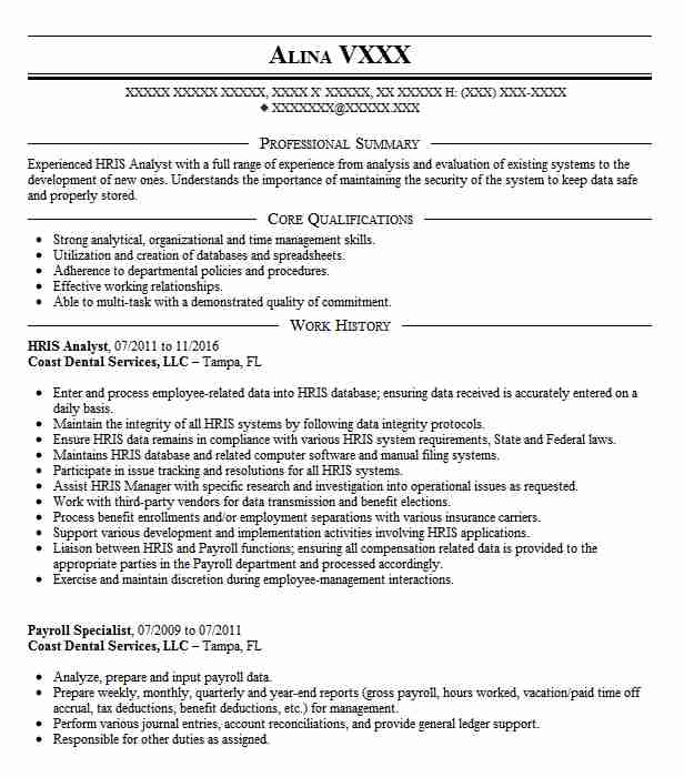 sample resumes for hr analyst