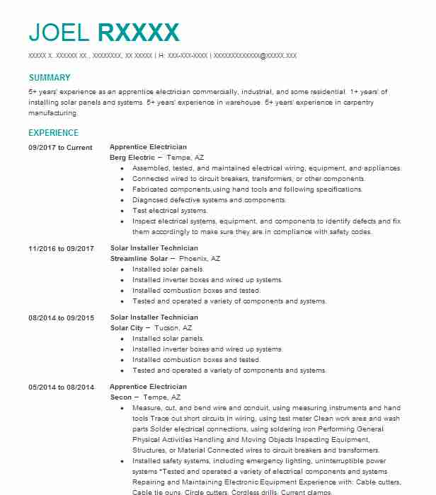 Best Apprentice Electrician Resume Example LiveCareer - electrician apprentice resume samples