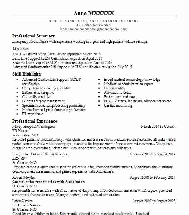 Er Nurse Resume Sample Nursing Resumes LiveCareer