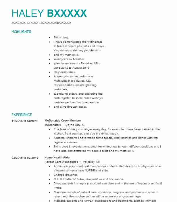 Mcdonalds Crew Member Resume Example (Mcdonald\u0027s) - Boyne City, Michigan