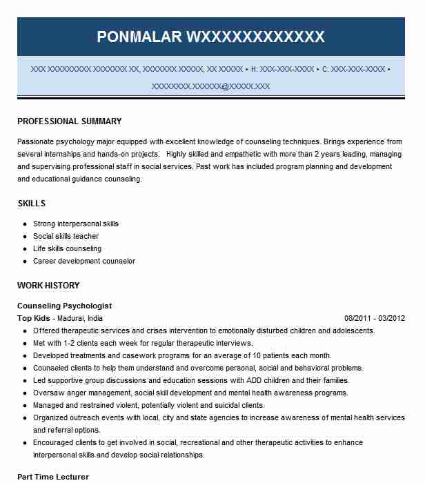 Counseling Psychologist Resume Sample LiveCareer
