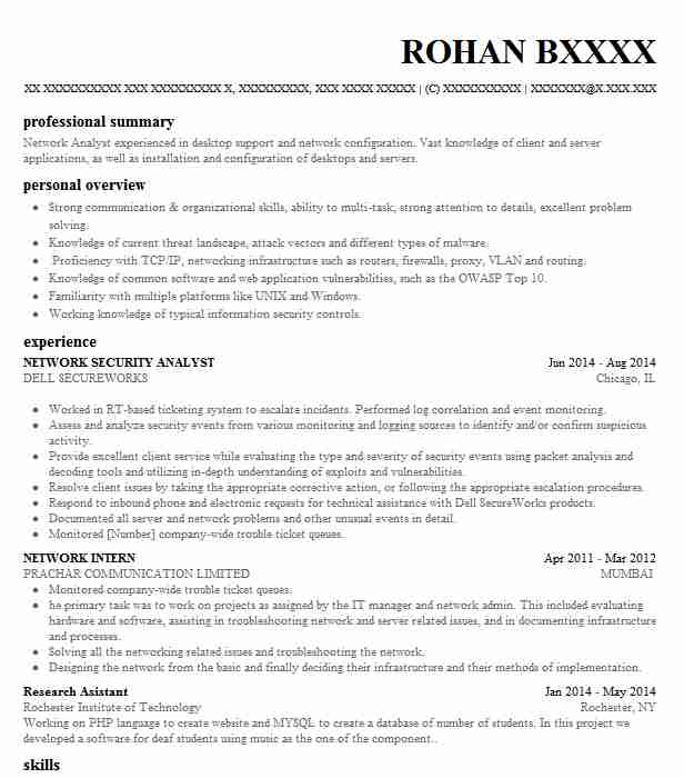 Network Security Analyst Resume Sample Analyst Resumes LiveCareer
