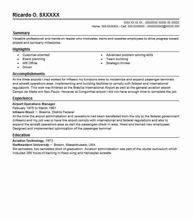 Airport Operations Manager Resume Sample LiveCareer