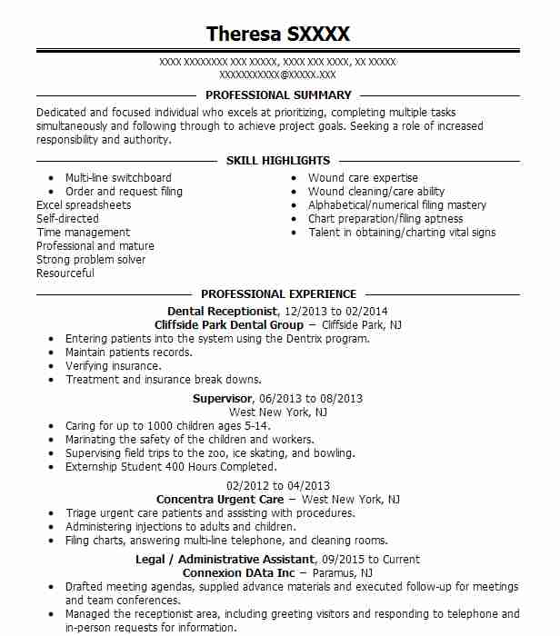 Dental Receptionist Resume Sample Dental Resumes LiveCareer
