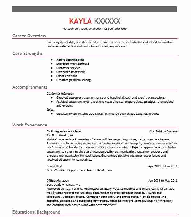 Clothing Sales Associate Resume Sample LiveCareer - resume for clothing sales associate