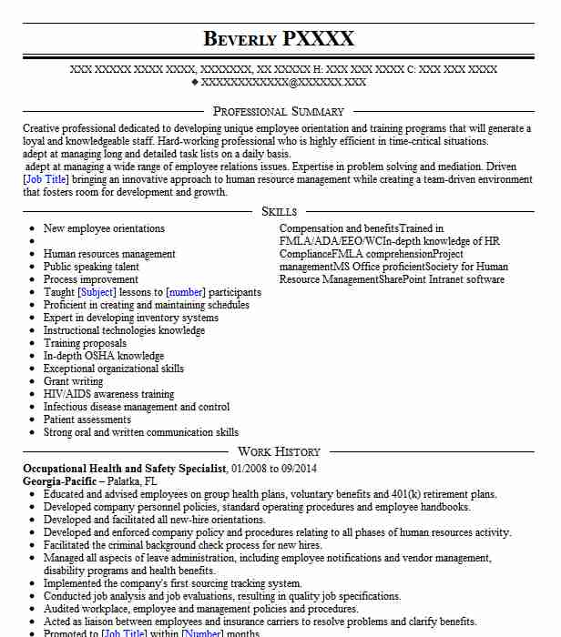 occupational health resume examples