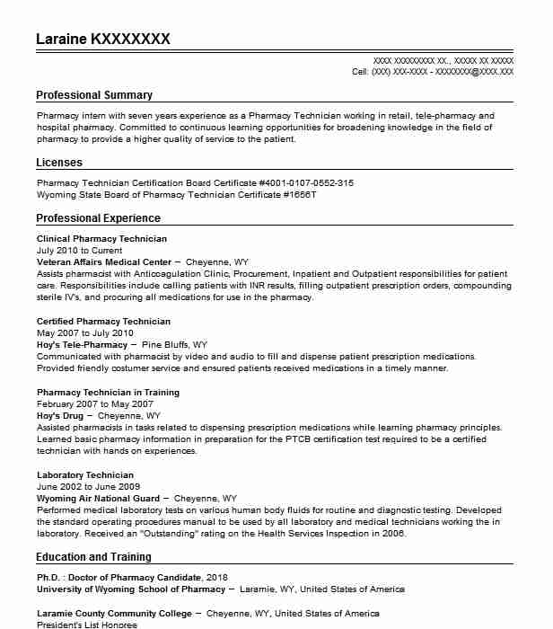 Clinical Pharmacy Technician Resume Example (Veteran Affairs Medical