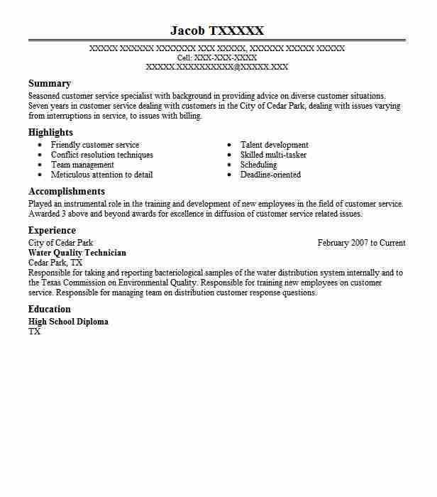 Water Quality Technician Resume Sample LiveCareer