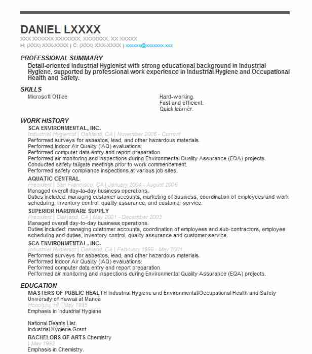 Industrial Hygienist Resume Sample Resumes Misc LiveCareer
