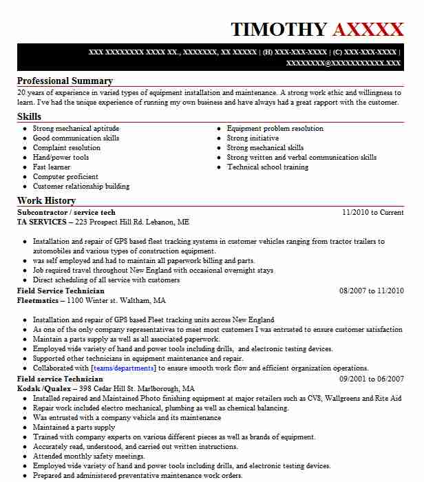 5 Medical And Precision Equipment Resume Examples in Maine LiveCareer - tractor mechanic sample resume