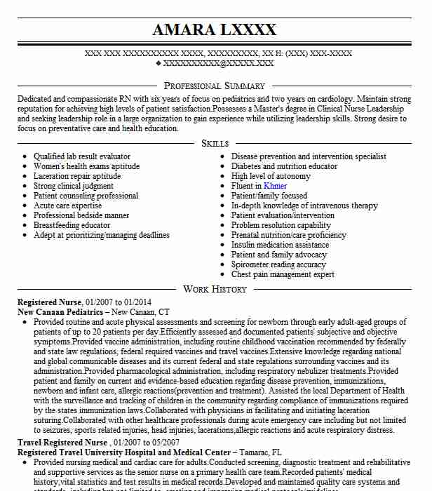 Best Registered Nurse Resume Example LiveCareer - sample of rn resume