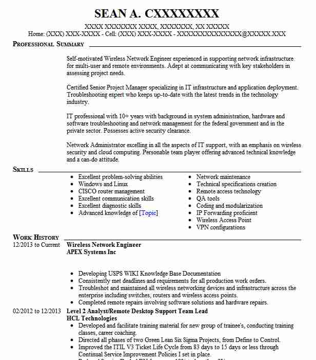 Wireless Network Engineer Resume Sample LiveCareer