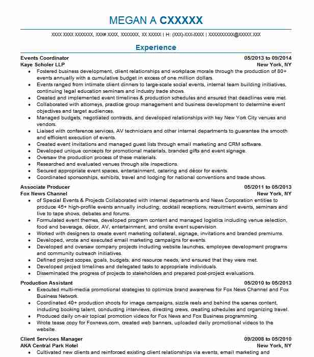 Events Coordinator Resume Sample Resumes Misc LiveCareer