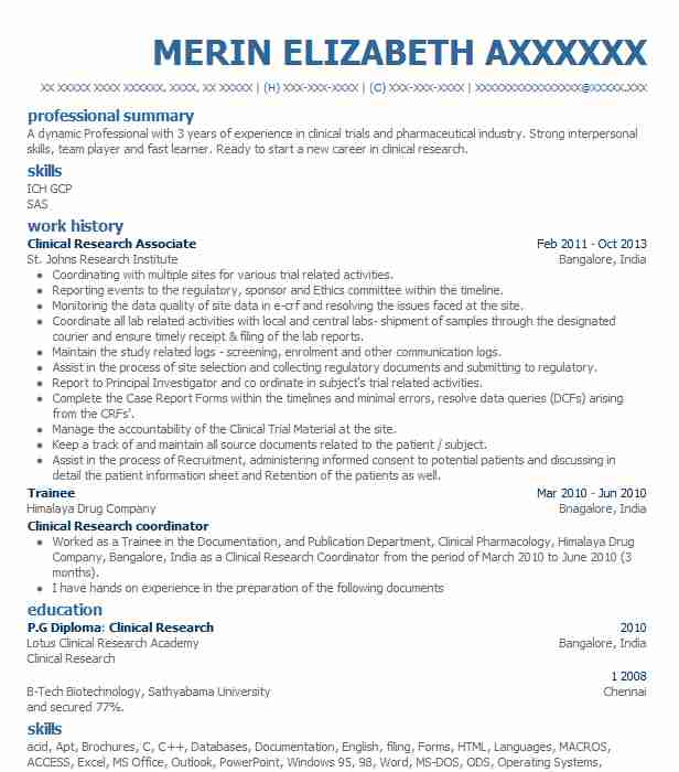 Clinical Research Associate Resume Sample Resumes Misc LiveCareer