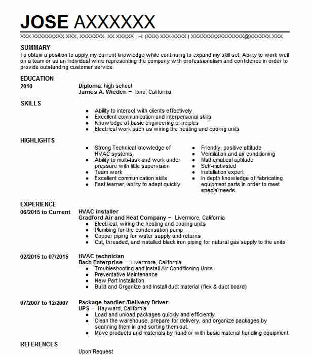 Hvac Installer Resume Sample Installer Resumes LiveCareer