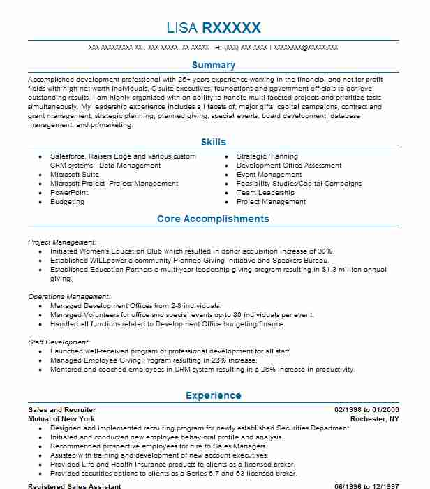 787 Development And Fundraising Resume Examples in California