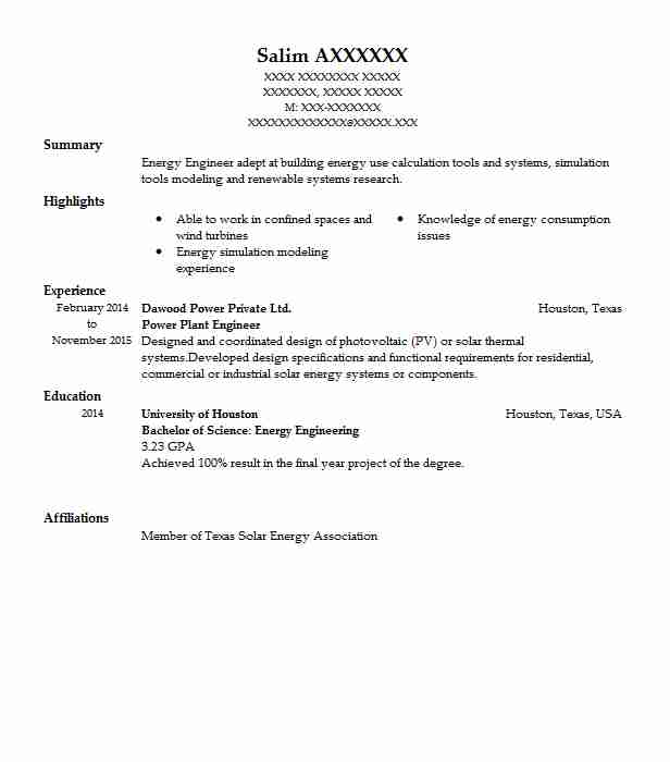 Power Plant Engineer Resume Sample Engineering Resumes LiveCareer - solar power engineer sample resume