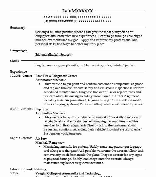 Automotive Mechanic Resume Sample Technician Resumes LiveCareer