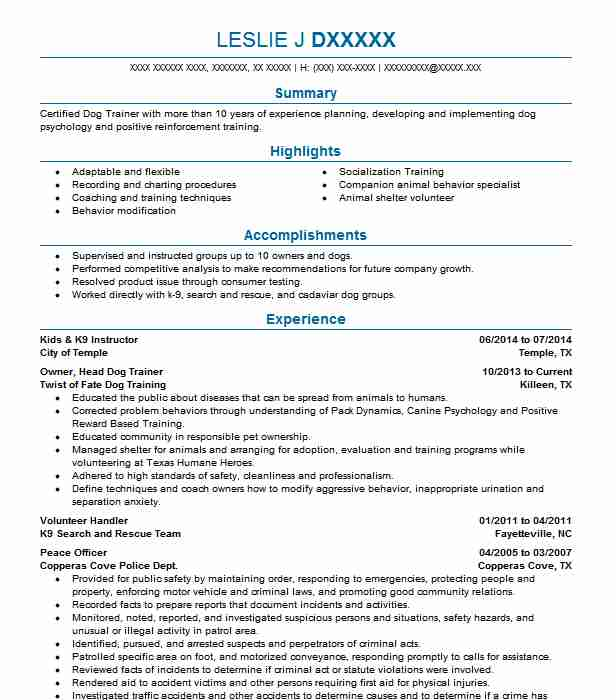 133 Animal Trainers Resume Examples in Texas LiveCareer - Animal Shelter Volunteer Sample Resume