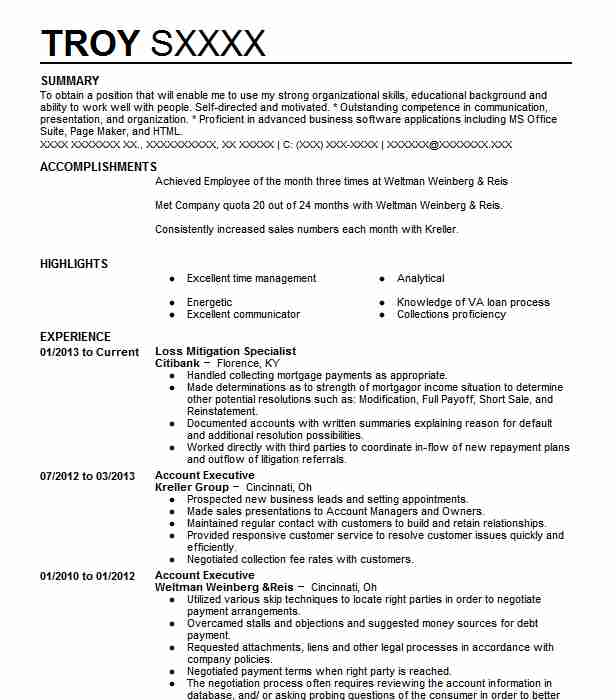 Loss Mitigation Specialist Resume Sample LiveCareer - loss mitigation specialist sample resume
