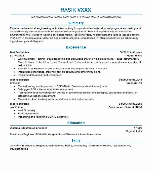 Test Technician Resume Sample Technician Resumes LiveCareer