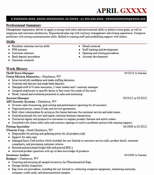 Thrift Store Manager Resume Sample Manager Resumes LiveCareer