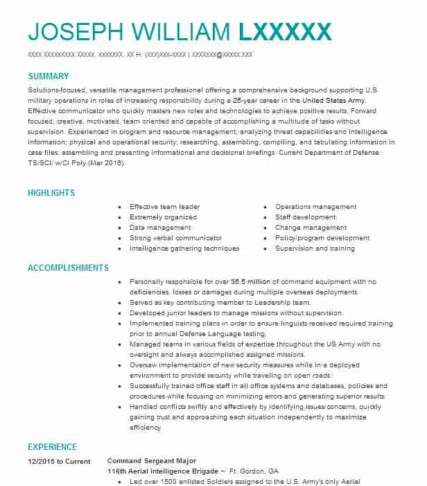 92255 Military Resume Examples  Samples LiveCareer - army resume