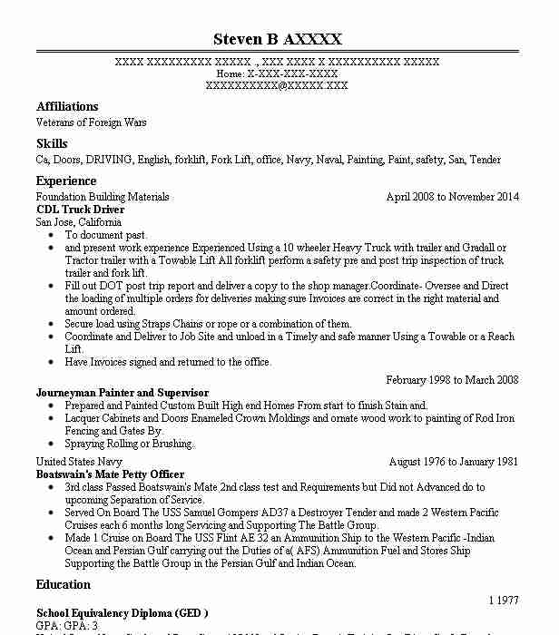 cdl resume examples