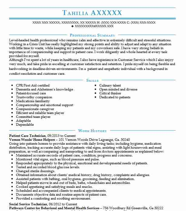 patient care tech resume examples
