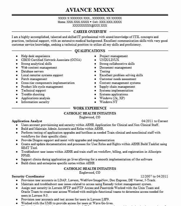 Application Analyst Resume Sample Analyst Resumes LiveCareer