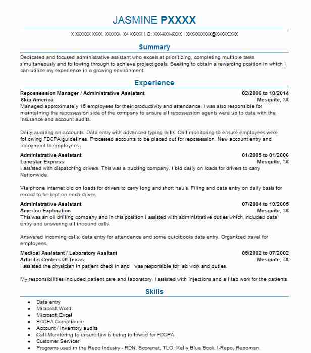Repossession Manager / Administrative Assistant Resume Example (Skip