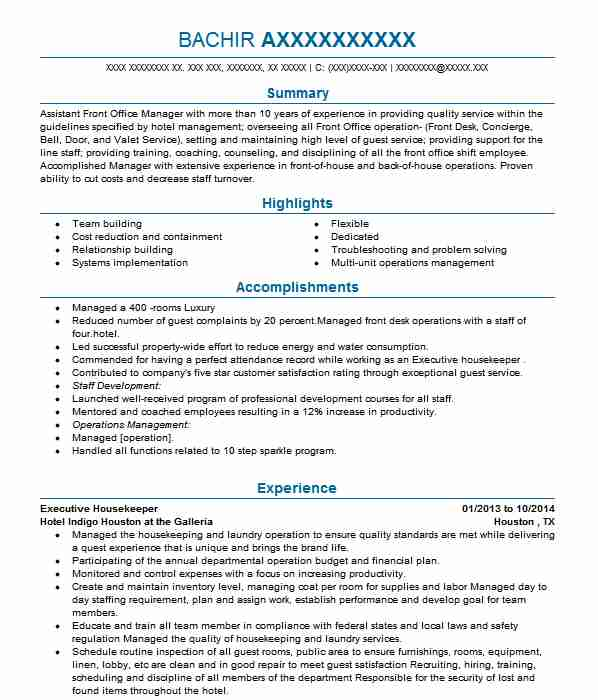Executive Housekeeper Resume Sample Resumes Misc LiveCareer