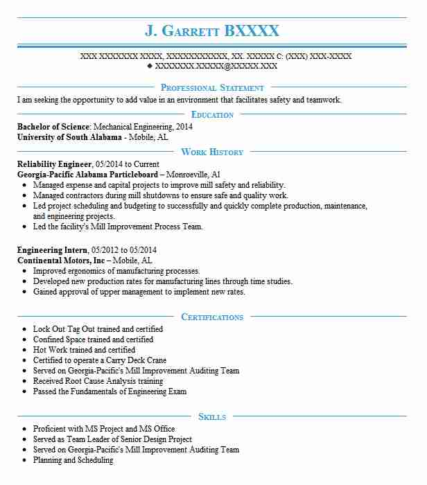 Reliability Engineer Resume Sample Engineering Resumes LiveCareer