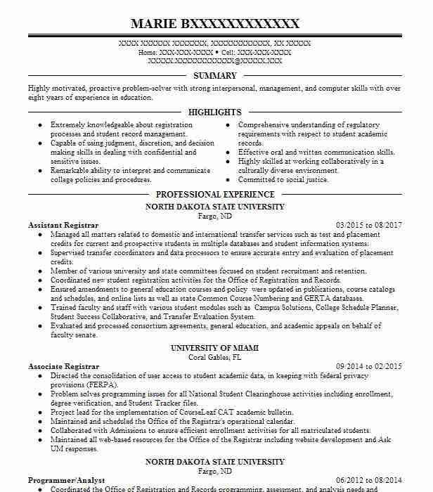 Eye-Grabbing Registrar Resumes Samples LiveCareer - assistant registrar sample resume